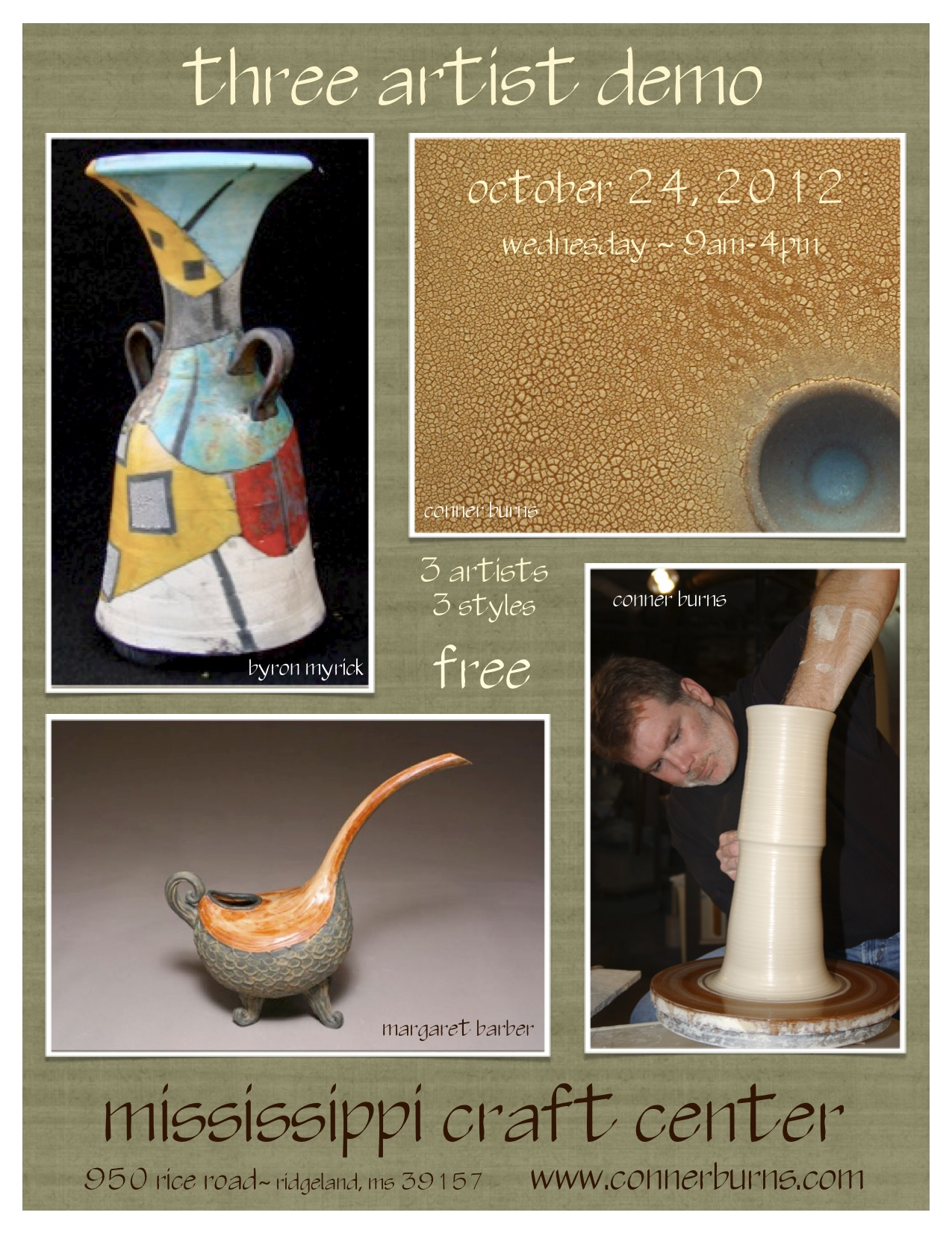 three artist demonstration at the mississippi craft center with conner burns, margaret barber and byron myrick