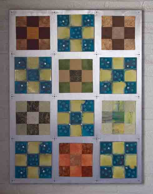 9 patch quilt collaboration by annette burns and conner burns - clay, firmer and aluminum