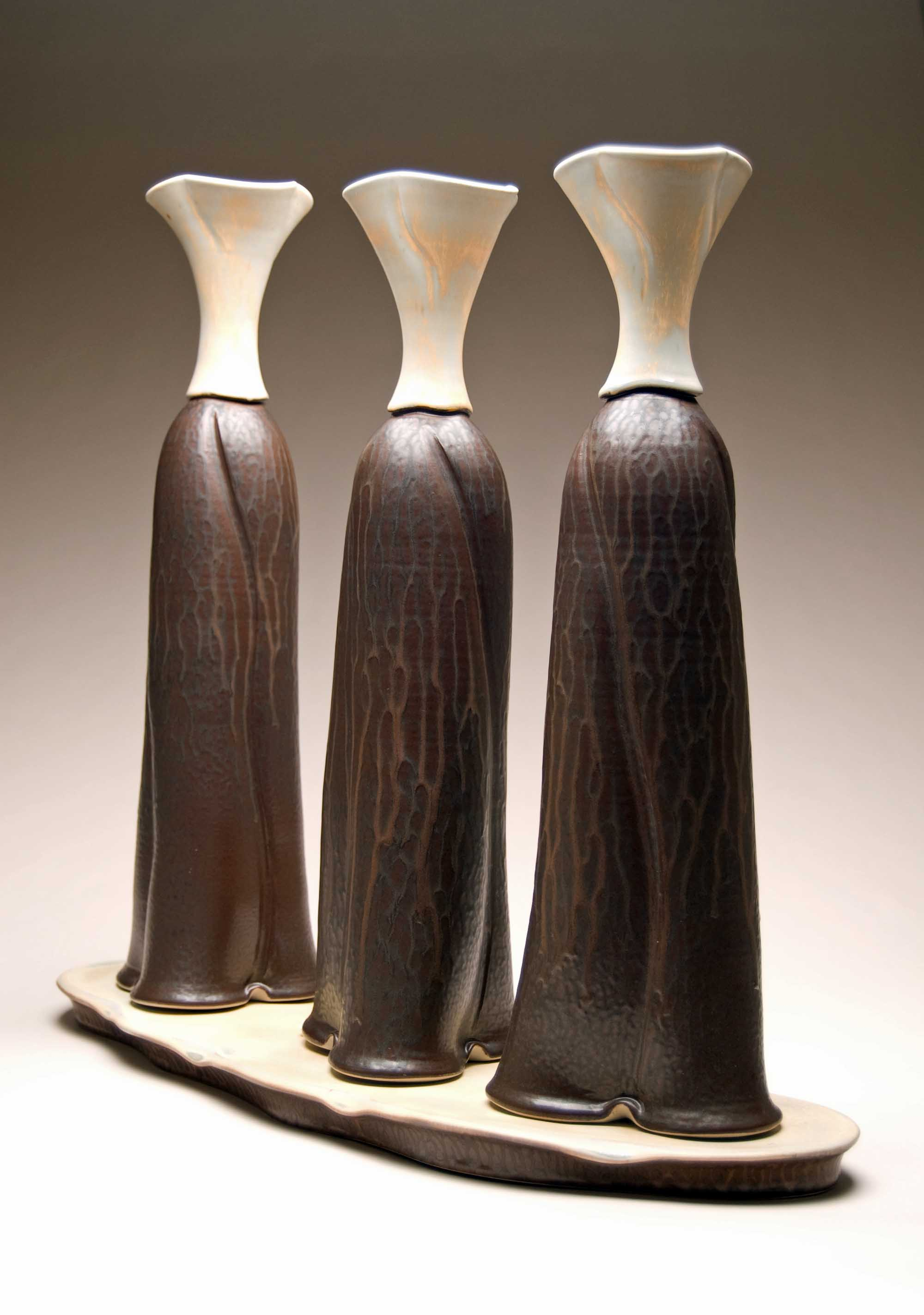 conner burns - three sisters vase set - dark ash